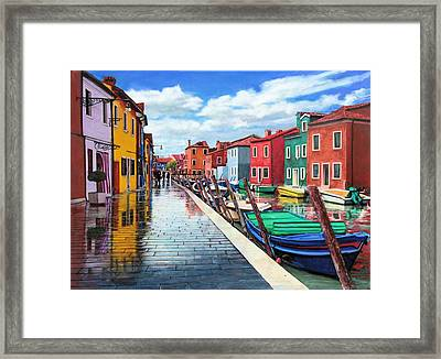 Burano War Of Colors Framed Print by Richard Barone