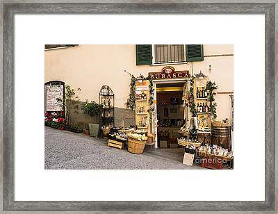 Burasca Shop Of Manarola Framed Print