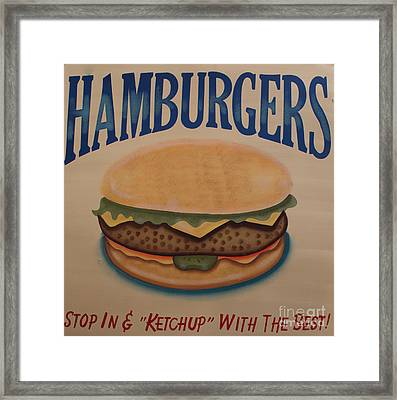 Burger And Bun Framed Print