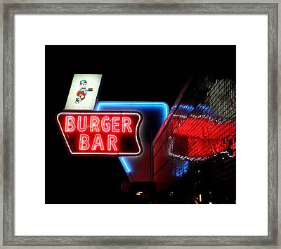 Burger Bar Neon Diner Sign At Night Framed Print
