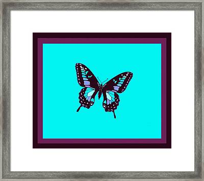 Burgundy Butterfly Blue Background 2 Borders Framed Print by L Brown