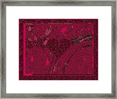 Burgundy Valentine Carved In Stone Framed Print