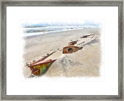 Buried Treasure - Shipwreck On The Outer Banks II Framed Print by Dan Carmichael