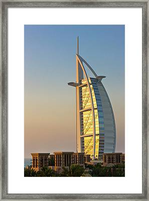 Burj Al Arab Hotel, Famous Building Framed Print by Keren Su
