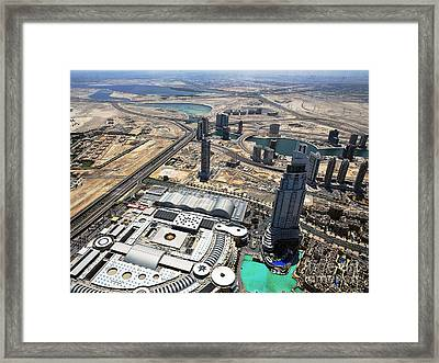 Burj Khalifa Observation Deck View - 01 Framed Print by Graham Taylor