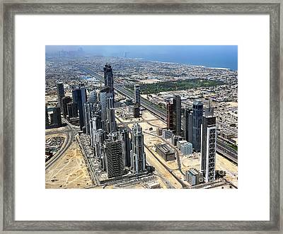 Burj Khalifa Observation Deck View - 02 Framed Print by Graham Taylor