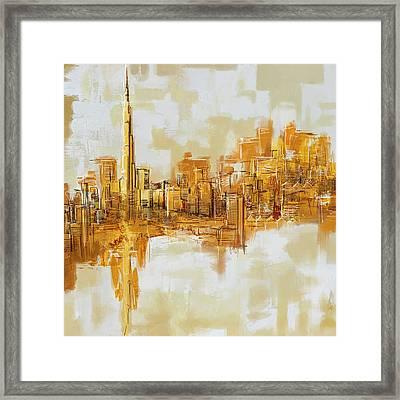Burj Khalifa Skyline Framed Print by Corporate Art Task Force