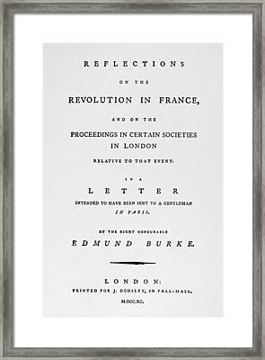 Burke Reflections, 1790 Framed Print by Granger