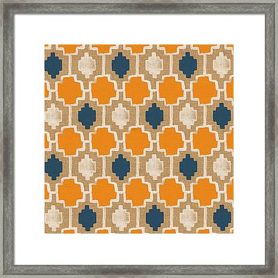 Burlap Blue And Orange Design Framed Print by Linda Woods