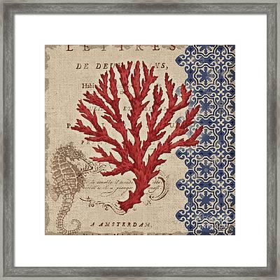 Burlap Coral Iv Framed Print by Paul Brent