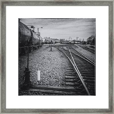 Burlington Vermont Train Yard Vintage Grunge Black And White Framed Print by Andy Gimino