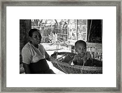 Burmese Grandmother And Grandchild Framed Print by RicardMN Photography