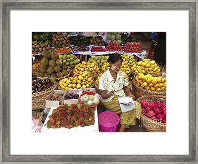 Burmese Lady Selling Colourful Fresh Fruit Zay Cho Street Market 27th Street Mandalay Burma Framed Print