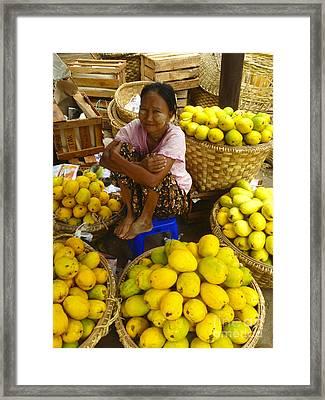 Burmese Lady Selling Fresh Mangoes Zay Cho Street Market 27th Street Mandalay Burma Framed Print by Ralph A  Ledergerber-Photography