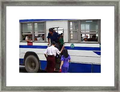 Burmese Using Public Transport Yangon Myanmar Framed Print by PIXELS  XPOSED Ralph A Ledergerber Photography