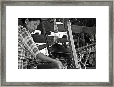 Burmese Woman Working With A Handloom Weaving. Framed Print by RicardMN Photography