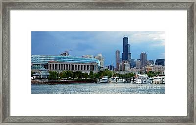 Burnham Harbor Under The Chicago Skyline And Soldier Field Framed Print