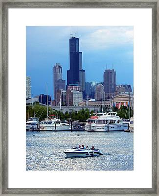 Burnham Harbor Under The Chicago Skyline Framed Print