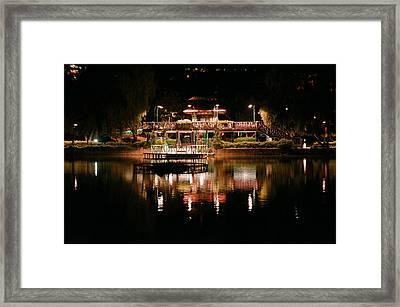 Burnham Park At Night Framed Print by Joel Panida