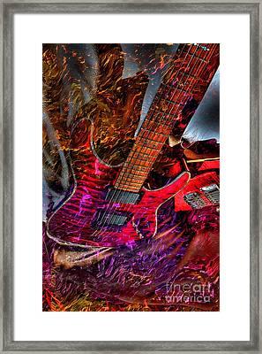 Burnin It Up Digital Guitar Art By Steven Langston Framed Print by Steven Lebron Langston