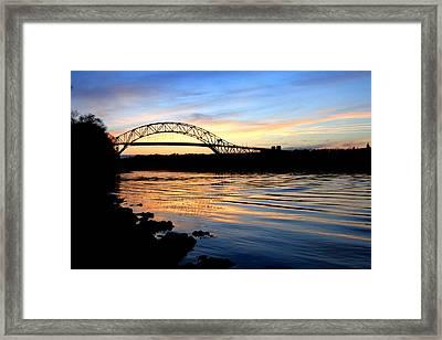 Burning Bridge Framed Print by MPG Artworks
