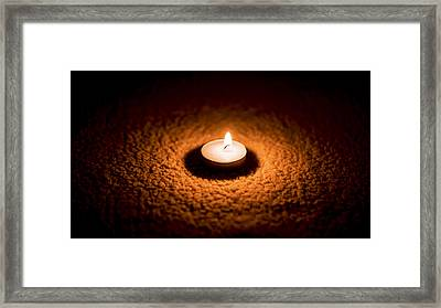 Burning Candle Framed Print by Aged Pixel