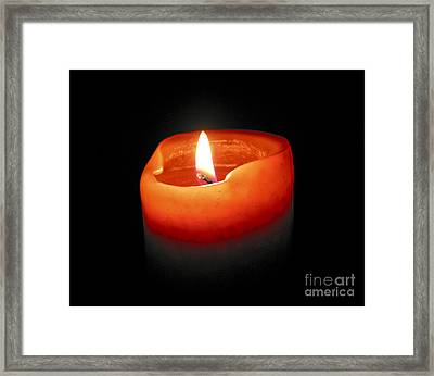 Burning Candle Framed Print by Elena Elisseeva