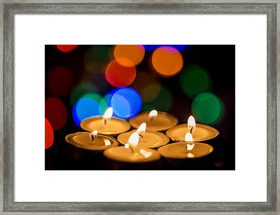 Burning Candles With Colorful Bokeh Framed Print