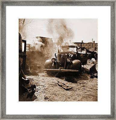 Burning Car Circa 1942  Framed Print by Aged Pixel
