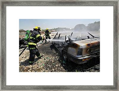 Burning Car Framed Print by Photostock-israel