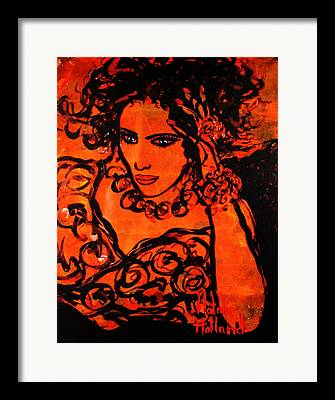 Woman With Black Hair Mixed Media Framed Prints