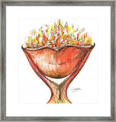 Framed Print featuring the painting Burning Hot Lips by Teresa White