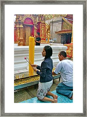 Burning Incense At Wat Phrathat Doi Sutep In Chiang Mai-thailand Framed Print