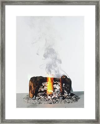 Burning Log Framed Print