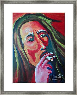 Framed Print featuring the painting Burning Marley by Justin Lee Williams