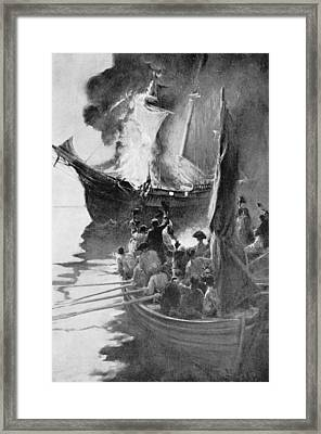 Burning Of The Gaspee, Illustration From Colonies And Nation By Woodrow Wilson, Pub. In Harpers Framed Print