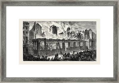 Burning Of The Old Paris Opera House, Viewed From The Rue Framed Print