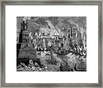 Burning Of The Royal Library Framed Print by British Library