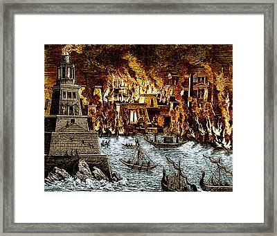 Burning Of The Royal Library Framed Print by Science Source