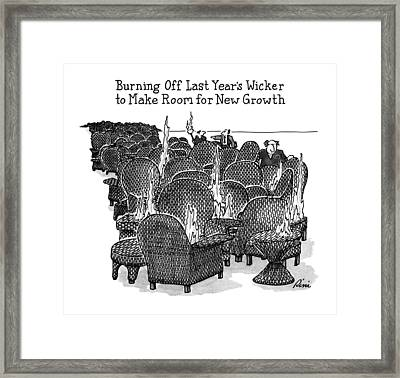 Burning Off Last Year's Wicker To Make Room Framed Print by J.P. Rini