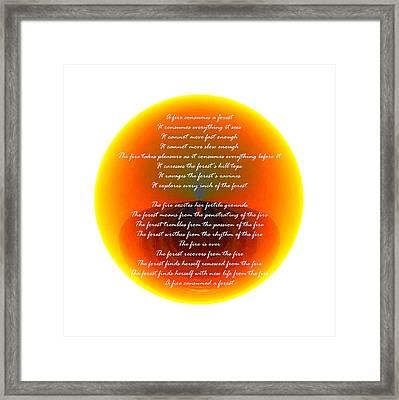 Burning Orb With Poem Framed Print by Brent Dolliver
