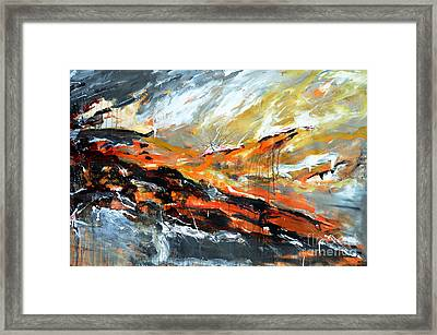 Burning Sky- Abstract Framed Print by Ismeta Gruenwald