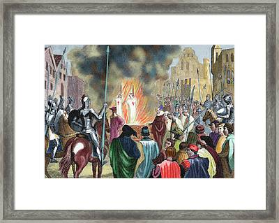 Burning Templar In The 14th Century Framed Print