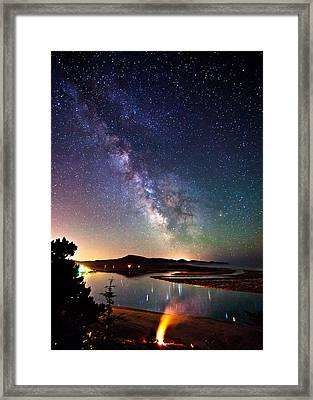 Burning The Milky Way Framed Print by Darren  White