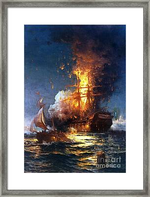 Burning The Uss Philadelphia Framed Print