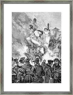 Burning Witches At The Stake Framed Print