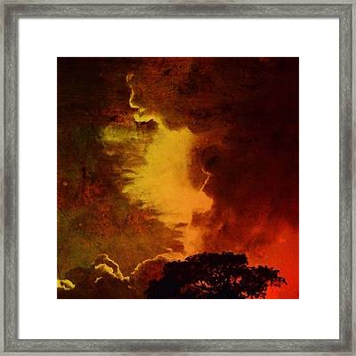 Burnished Sunset With Tree - Square Framed Print