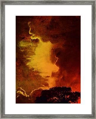 Burnished Sunset With Tree - Vertical Framed Print