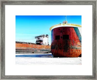 Burns Harbor And Edwin H Gott Framed Print by David Blank