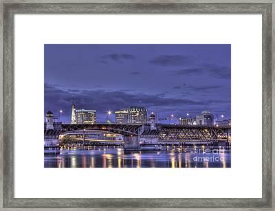 Burnside Bridge By Night Framed Print